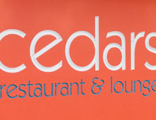 Cedars Restaurant Hanging Sign